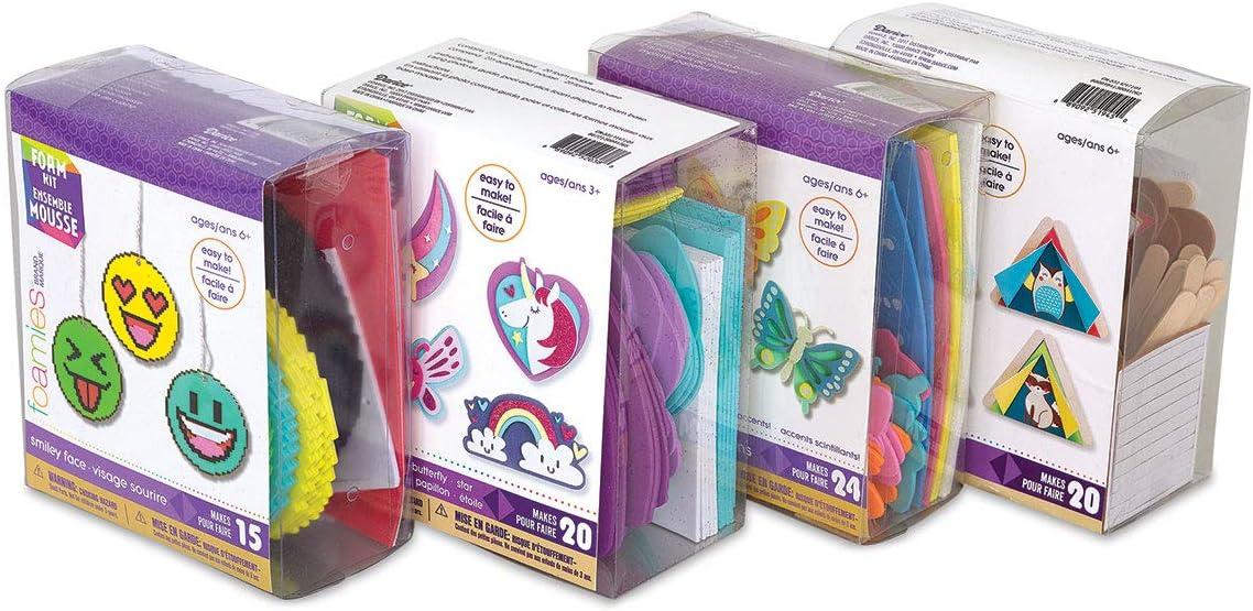 Foamies 15 Smiley Face Emoji Emoticon Ornaments Craft Activity Kit Foam Twine 4 x 4 in