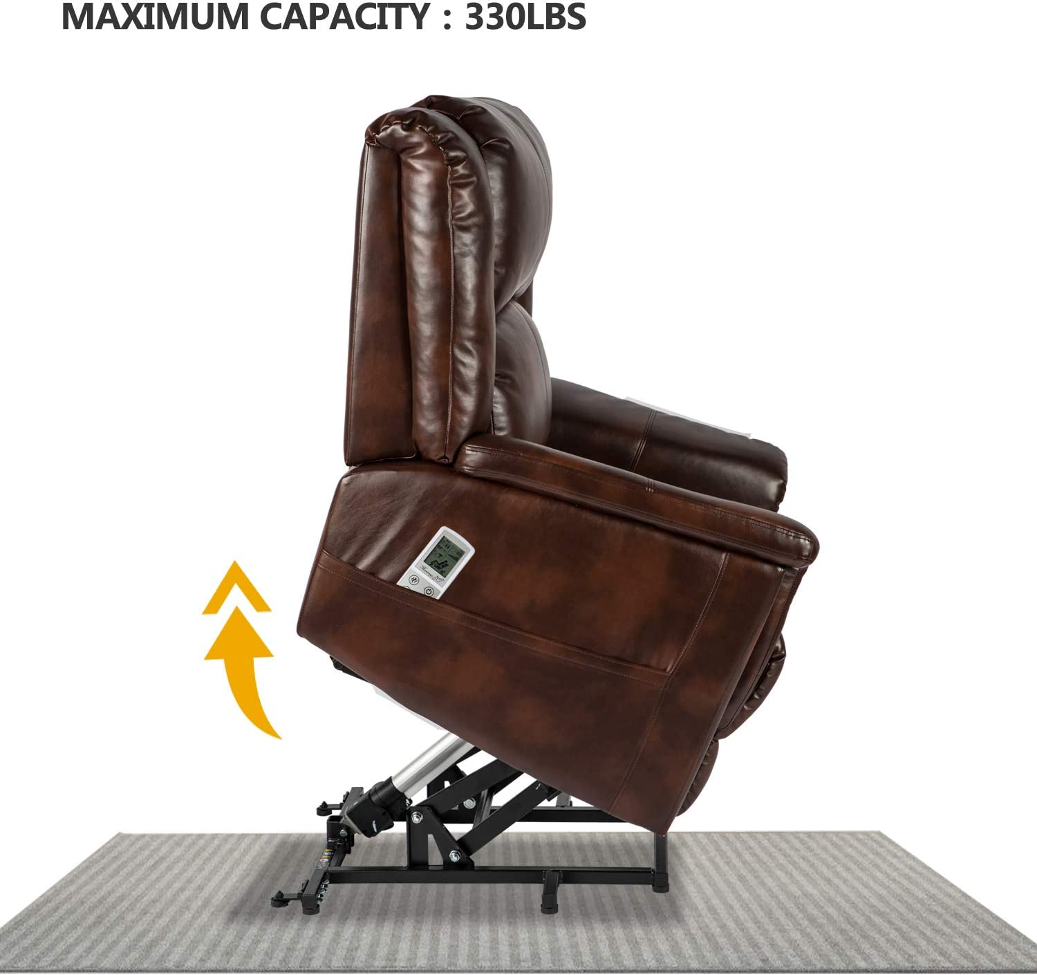 Aoxun Electric Power Lift Recliner Chair Sofa With Massage And Heat For Elderly Remote Control Pu Leather Lounge Brown Kitchen Dining