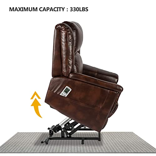 Aoxun Electric Power Lift Recliner Chair Sofa with Massage and Heat for Elderly, Remote Control Pu Leather Lounge Brown