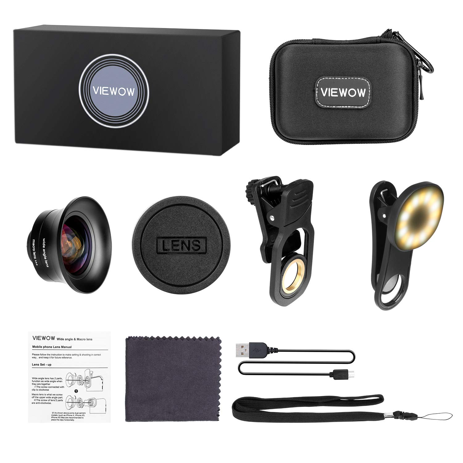 Cell Phone Camera Lens Kit – VIEWOW 4K HD 7 Optical Glasses 15X Macro 0.45X Wide Angle Phone Lens Kit with LED Light and Travel Case, Compatible with iPhone X/XS/8/7 Plus Samsung Pixel by VIEWOW (Image #8)