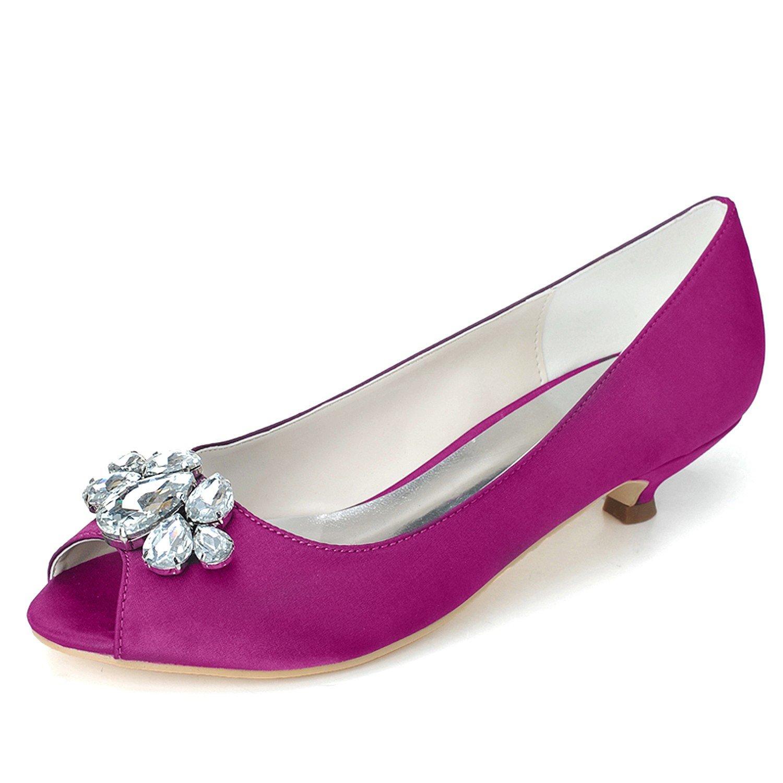 Qingchunhuangtang@ Mujeres Bombas Peep Toe Vestidos Boda Noche Tacón Zapatos de Corte,Purple,36 36|El Morado