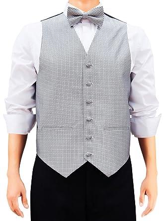 Retreez - Chaleco de cuadros con corbata, pajarita, bolsillo ...