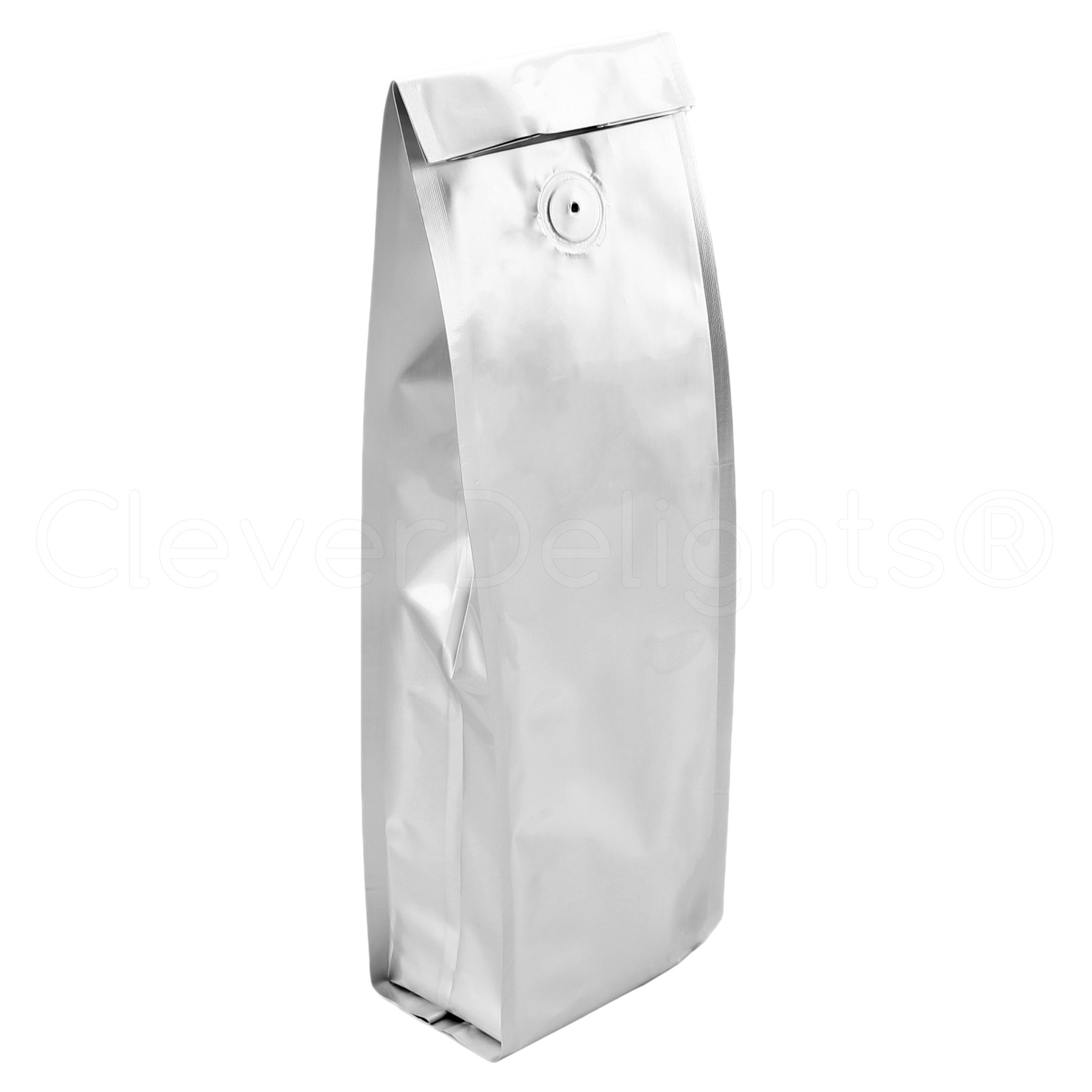 50 Pack - CleverDelights Silver Coffee Bags with Degassing Valve - Side Gusset - 1Lb (16oz) Bags
