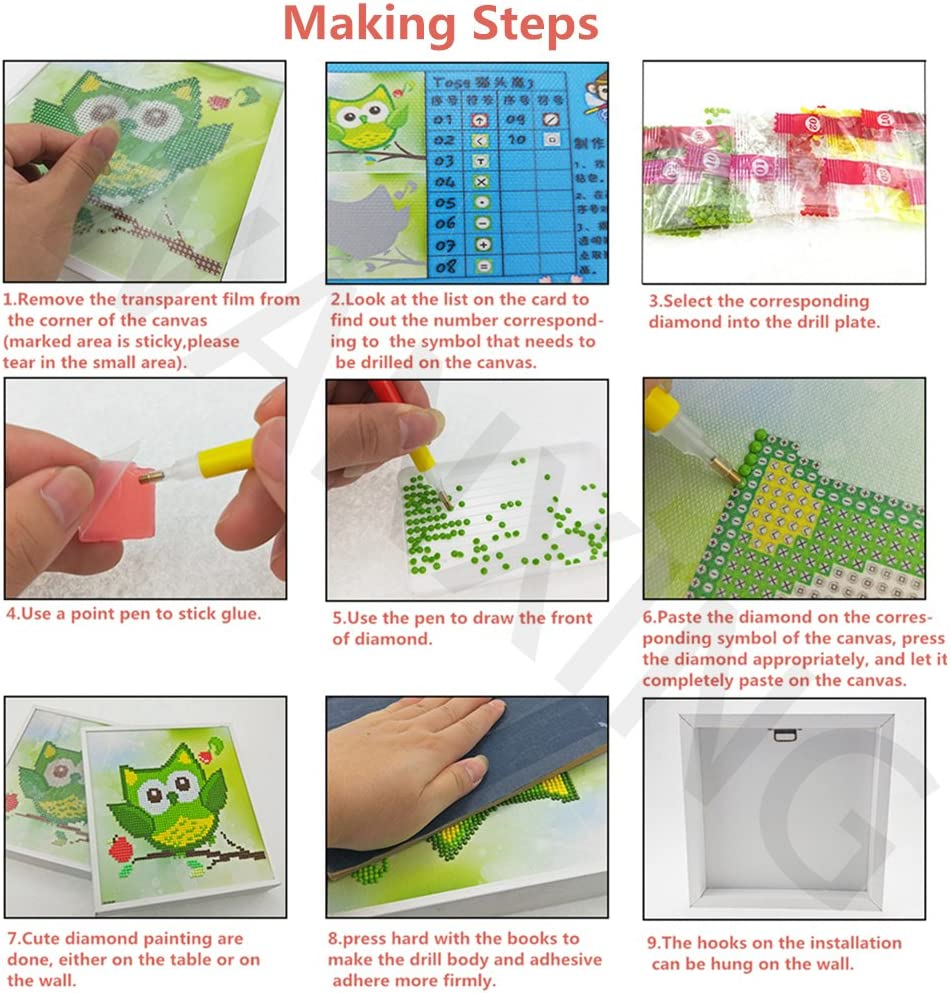 Green Diamond Painting by Numbers Craft Kits for Children with Frame Arts Craft for Home Wall Decor Gift