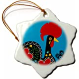 3dRose orn_160660_1 The Black Portuguese Rooster on a Blue Background with a Heart Snowflake Ornament, Porcelain, 3-Inch