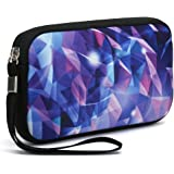 Unisex Portable Washable Travel All Smartphone Wristlets Bag Clutch Wallets, Change Purse,Pencil Bag,Cosmetic Bag Pouch Coin Purse Zipper Change Holder with Strap (Colorful Stereogram)