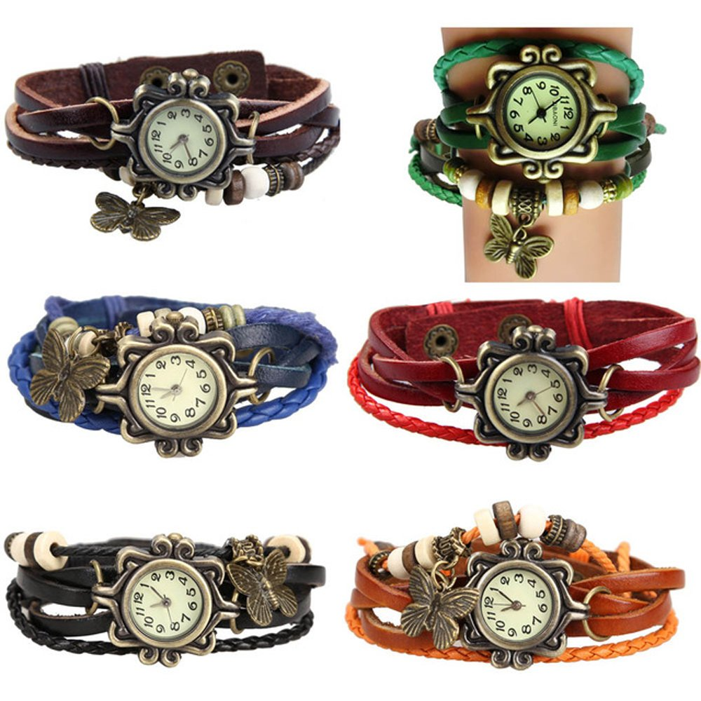 Yunanwa 6 Pack Womens Ladies Girls Vintage Retro Butterfly Pendant Bracelet Wrist Watches