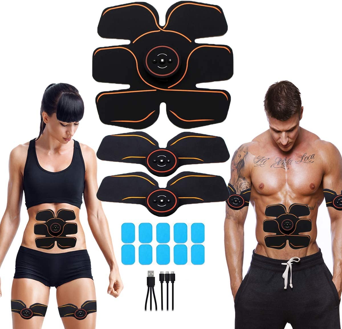 APZOVO Muscle Toner Rechargeable, EMS Abdomen Muscle Trainer with 6 Modes 10 Levels, Muscle Toner Toning Belt for Men Women, Free 10pcs Gel Pads Included