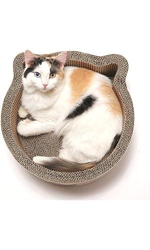 Cat1st Cat-headed Round Cardboard Scratcher Cuddler Bed