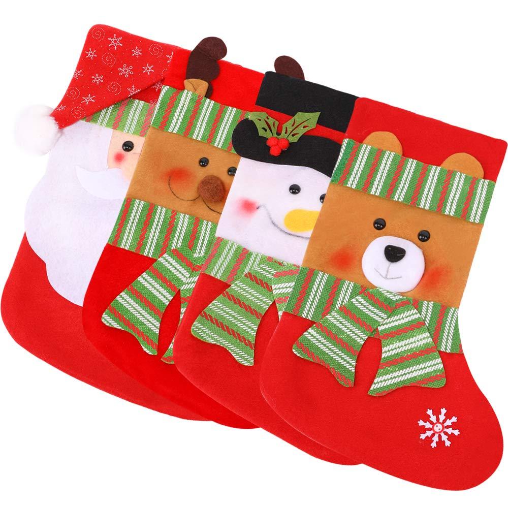 MediaLJia 4 Pieces Christmas Stockings Xmas Party Decorations,Santa Snowman Elk Bear Style