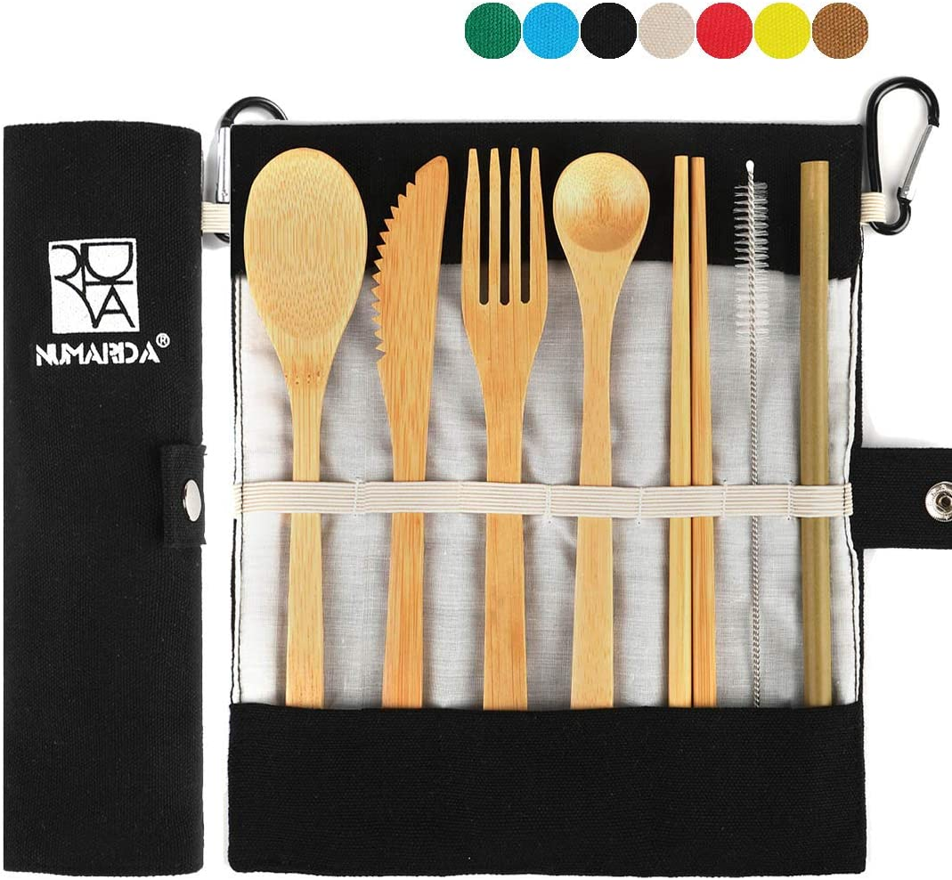 Bamboo Cutlery Set Eco-friendly Flatware Fork Spoon Travel For Camping G7O5