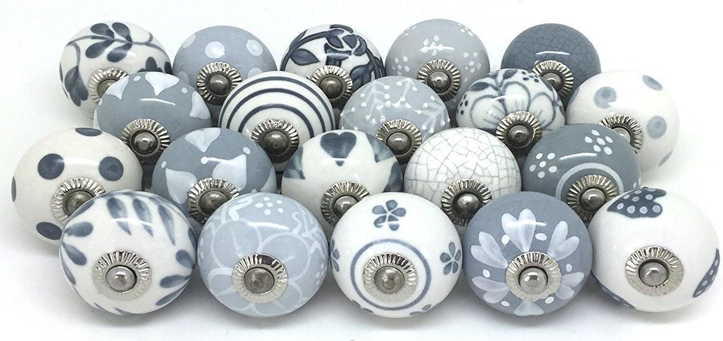 JGARTS 20 Knobs Grey & White Cream Hand Painted Ceramic Knobs Cabinet Drawer Pull Pulls