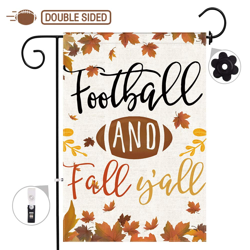 Hexagram Fall Garden Flags 12 x 18 Prime,Football and Fall Y'All Burlap Garden Flag Double Sided Garden Flag Set Leaves Banner,Football Garden Flag Fall Outdoor Decorations(Not Include a Flag Holder)