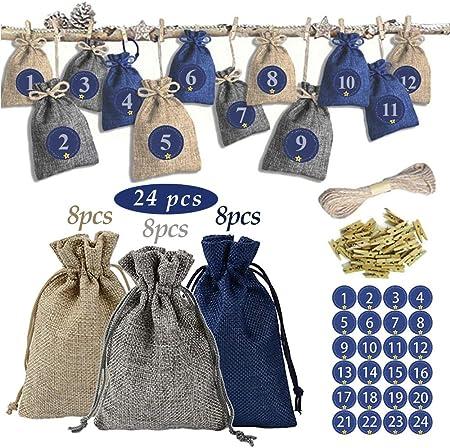 1.bolsa de tela de calendario de adviento de 3 colores diferentes: 24 piezas de bolsa de tela de 3 c