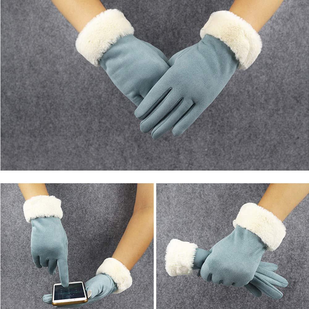 plus velours /équitation mode casual sports de plein air gants de couleur unie Bleu DAY.LIN Femmes hiver chaud /écran tactile en cuir de daim