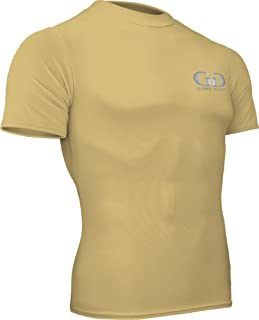product image for HT-603S-CB Fitness Compression Fit, Short Sleeve Crew Neck Shirt-Track, Soccer, Football, Weight Training, Lacrosse-Sweat Transfer Technology (X-Large, Vegas Gold)