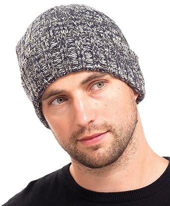 Mens Chunky Ribbed Knitted Beanie Hat Navy Blue Khaki   Oatmeal Mix - One  Size  Amazon.co.uk  Clothing 81019647ac5