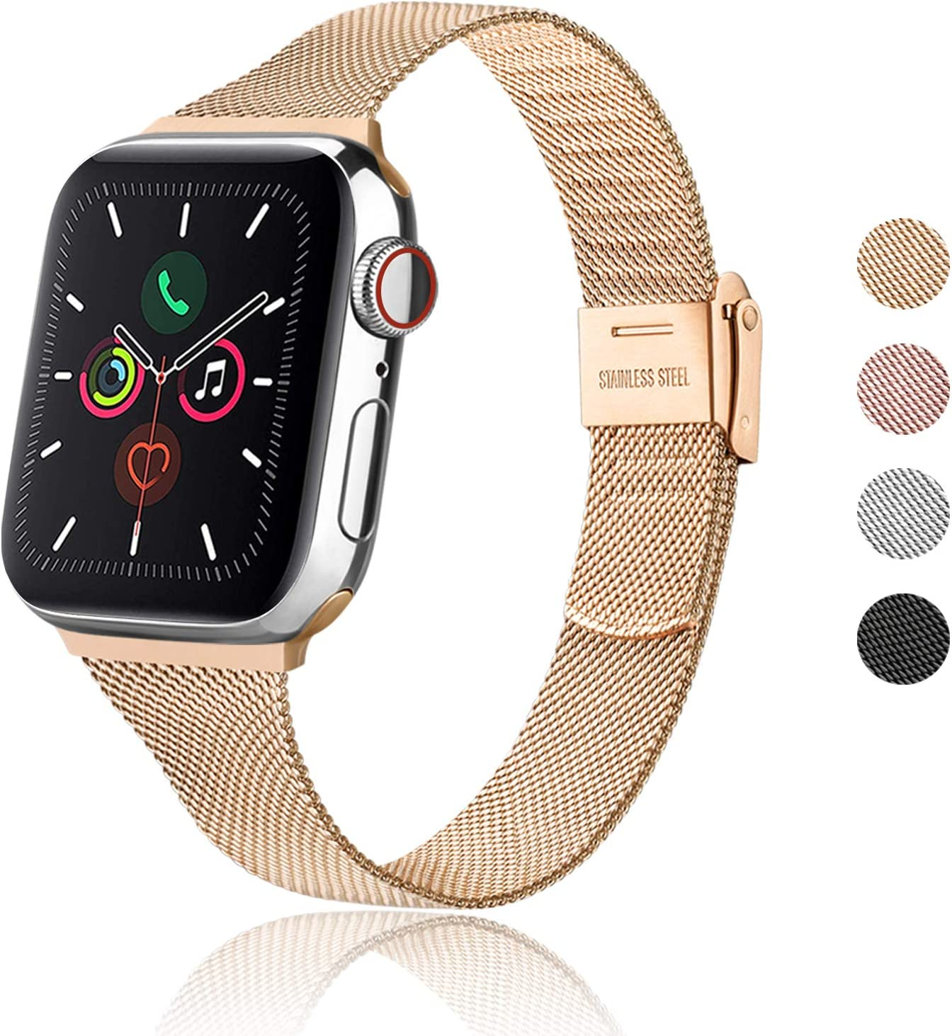 Meliya Metal Slim Bands Compatible with Apple Watch Band 38mm 40mm 42mm 44mm, Stainless Steel Metal Clasp Thin Replacement Band for iWatch Series 5 4 3 2 1 (Rose Gold, 42mm/44mm)
