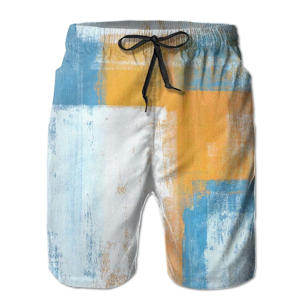 SmallHan Mens Teal and Orange Abstract Art Painting White Swimming Boardshorts Adjustable Beach Shorts With Pockets
