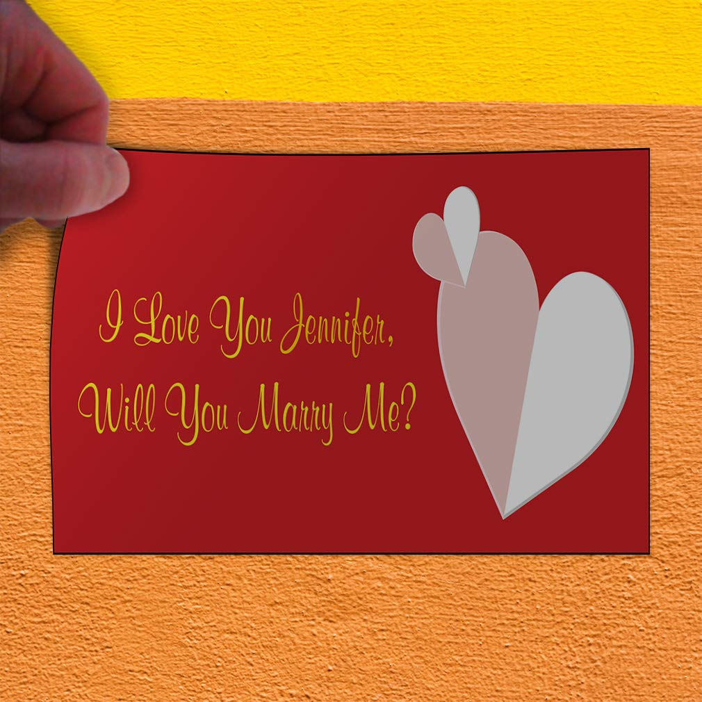 Custom Door Decals Vinyl Stickers Multiple Sizes I Love You Will Name You Marry Me Lifestyle Will You Marry Me Outdoor Luggage /& Bumper Stickers for Cars Red 28X20Inches Set of 10
