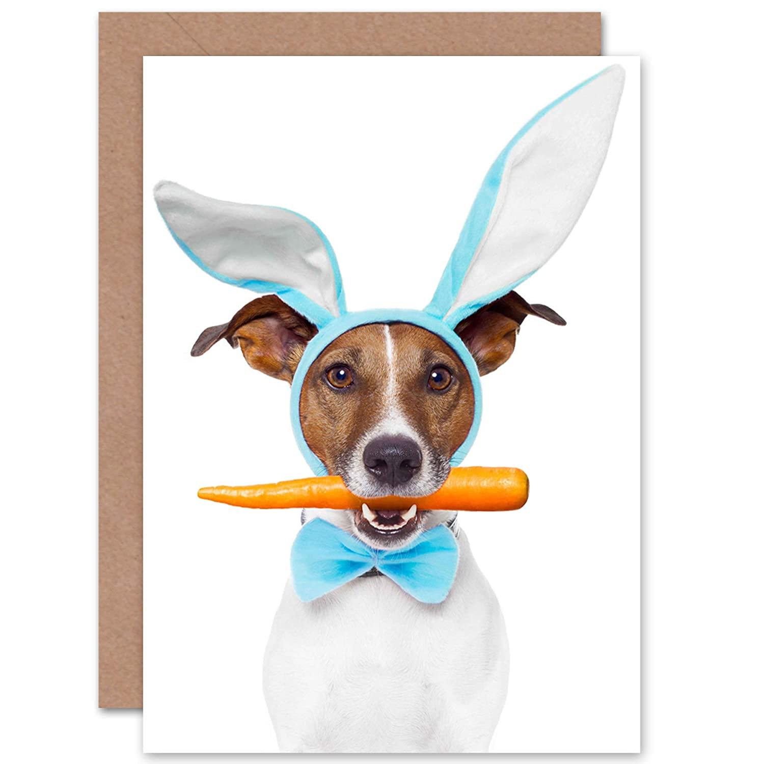 CARD GREETING CAMP JACK RUSSELL BUNNY EARS CARROT GIFT CP2393