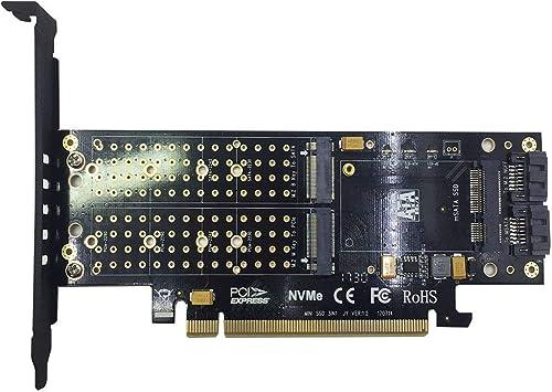 3 en 1 M.2 y mSATA SSD Tarjeta Adaptador para M.2 NVME y AHCI a ...