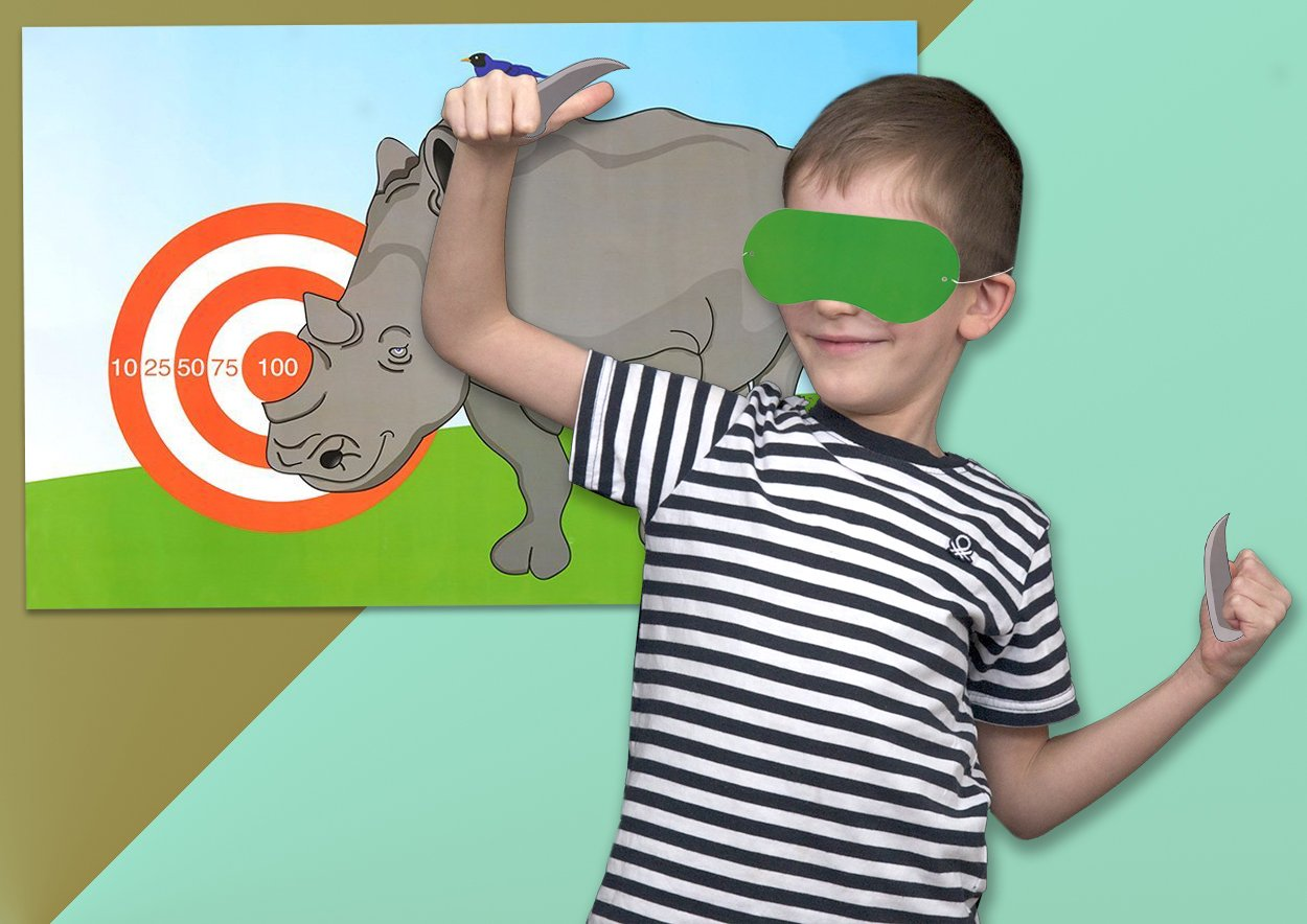 7 x 3.1 Inches Juvale Pin The Horn on The Rhino Best Paper Greetings Children Party Games 10 Horn Stickers 1 Blindfold Mask Includes 2 Posters Birthday Party Games Kids Activities
