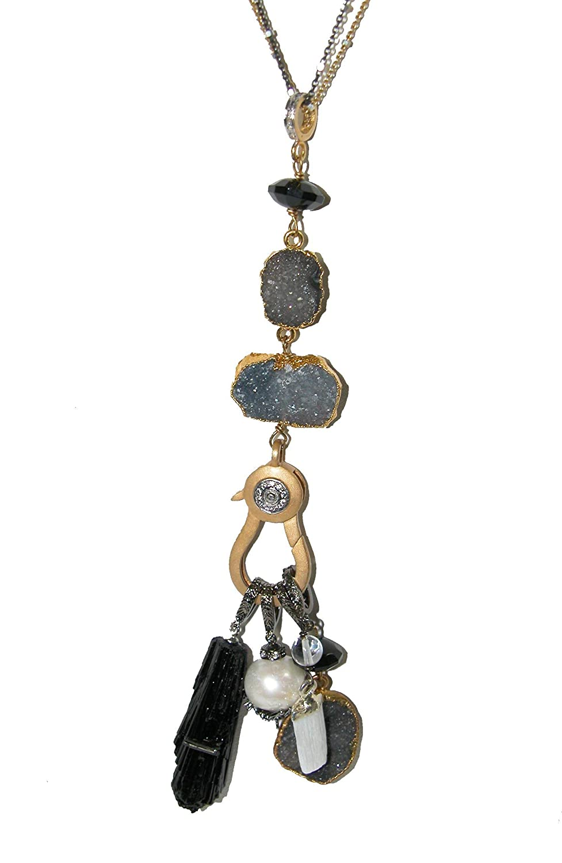 03eaee8ce25 Amazon.com  AMY KAHN RUSSELL Diamond Drusy Vermeil Freshwater Pearl  Tourmalien Selenite Black Onyx Charm Pendant Necklace  Handmade