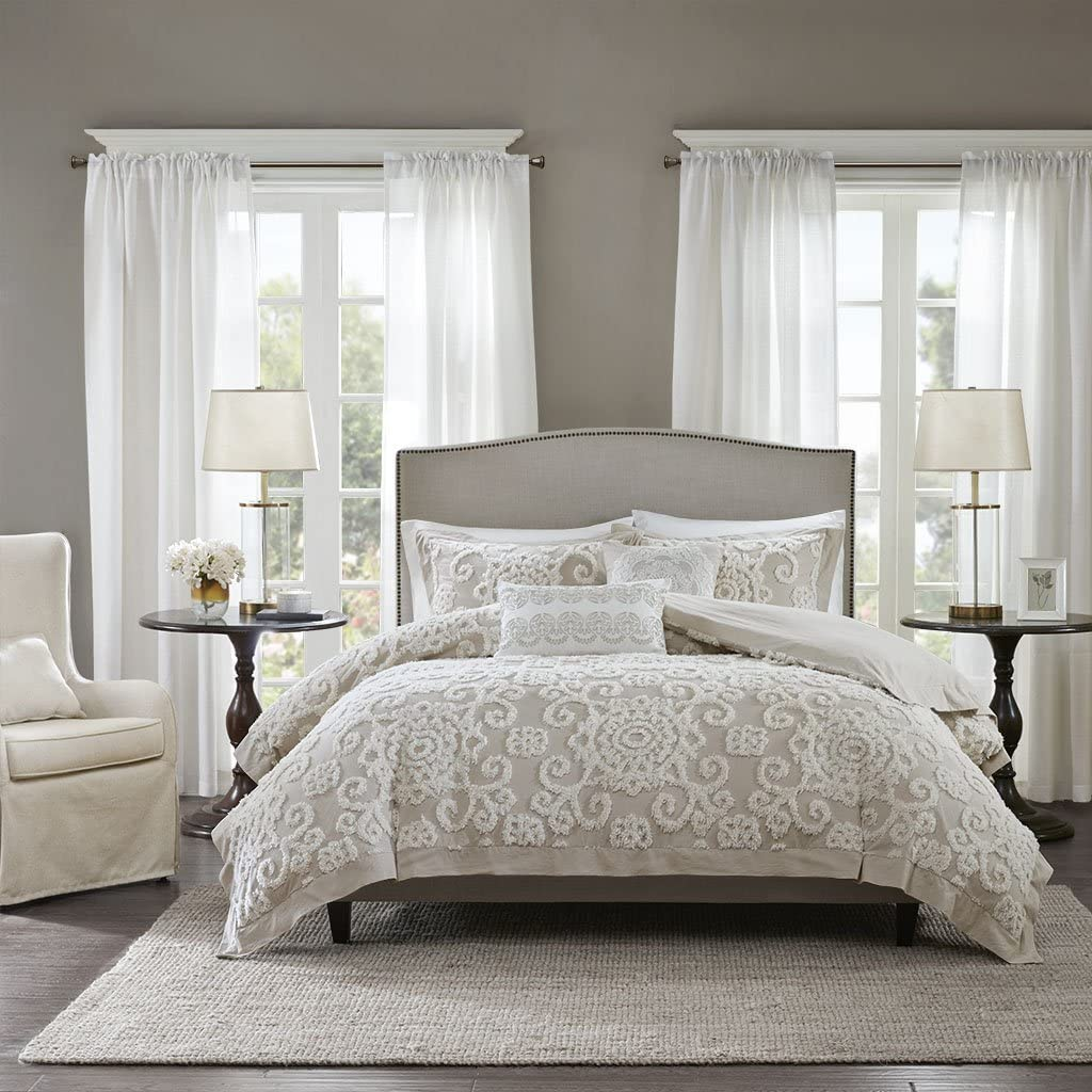 Harbor House Suzanna Duvet Cover King Size - Taupe , Medallion Duvet Cover Set – 3 Piece – Cotton Light Weight Bed Comforter Covers