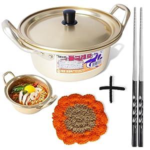 "Korean Ramen Noodle Pot 6.3""(16cm) + Chopstick (1 Pair) + Dish scrubber, Made in Korea"