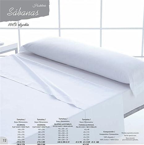 España SABANAS HOSTELERIA Algodon 100% Todas Las Medidas (Bajera Ajustable 150 X 200 + 25 CM): Amazon.es: Hogar