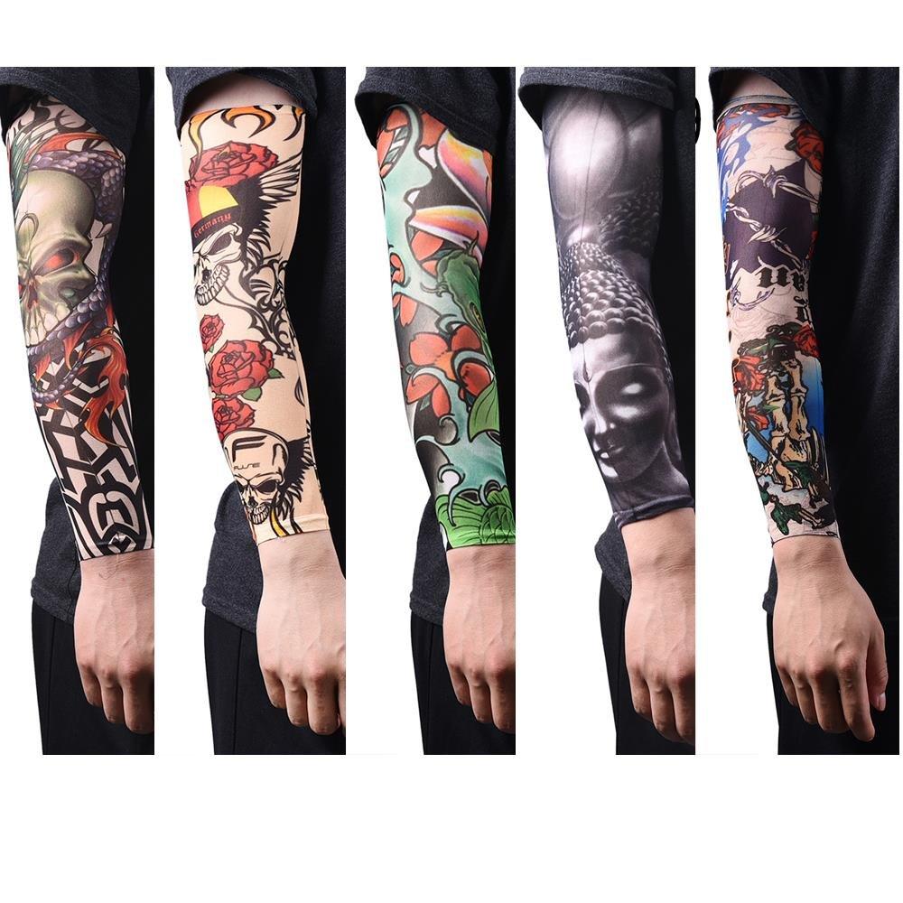 u-hoMEyy 14 Pcs Temporary Tattoo Sleeves Body Art Arm Stockings Slip Accessories Arm Sunscreen Sleeves Halloween Tattoo Sleeves