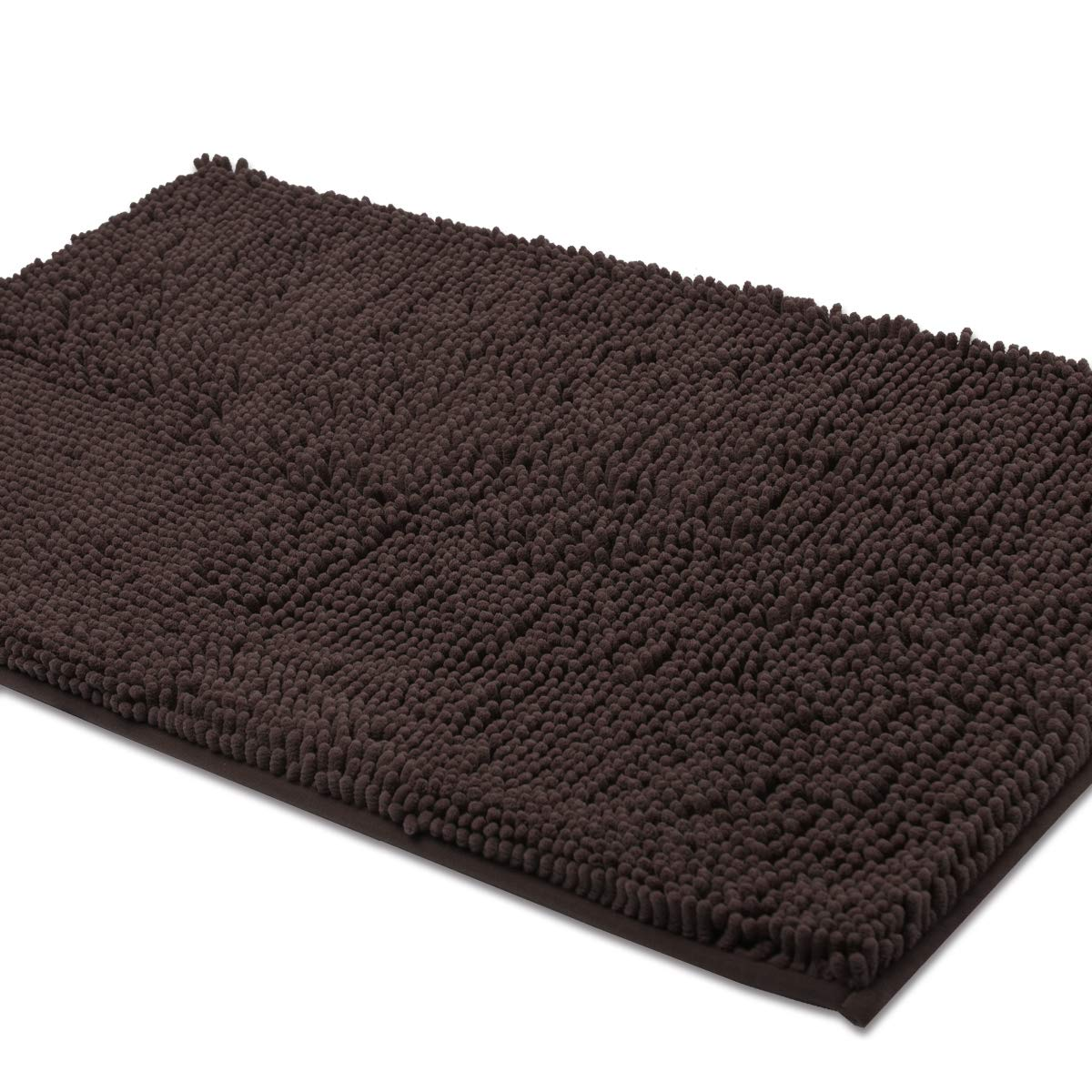 ITSOFT Non-Slip Shaggy Chenille Soft Microfibers Toilet Contour Bathroom Rug with Water Absorbent, Machine Washable, 21 x 24 Inch U-Shaped Chocolate Brown