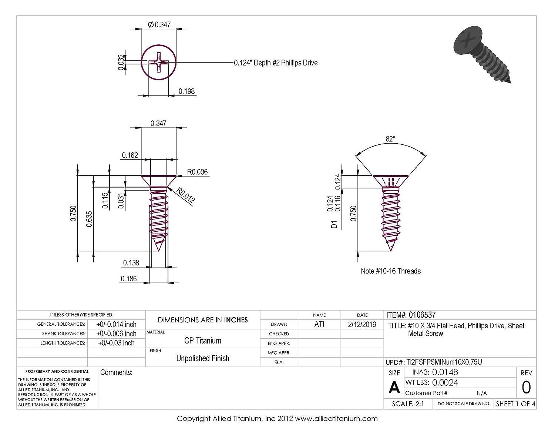 Pack of 25 #10 X 3//4 Flat Head CP Titanium Sheet Metal Screw Allied Titanium 0106537, Grade 2 Phillips Drive