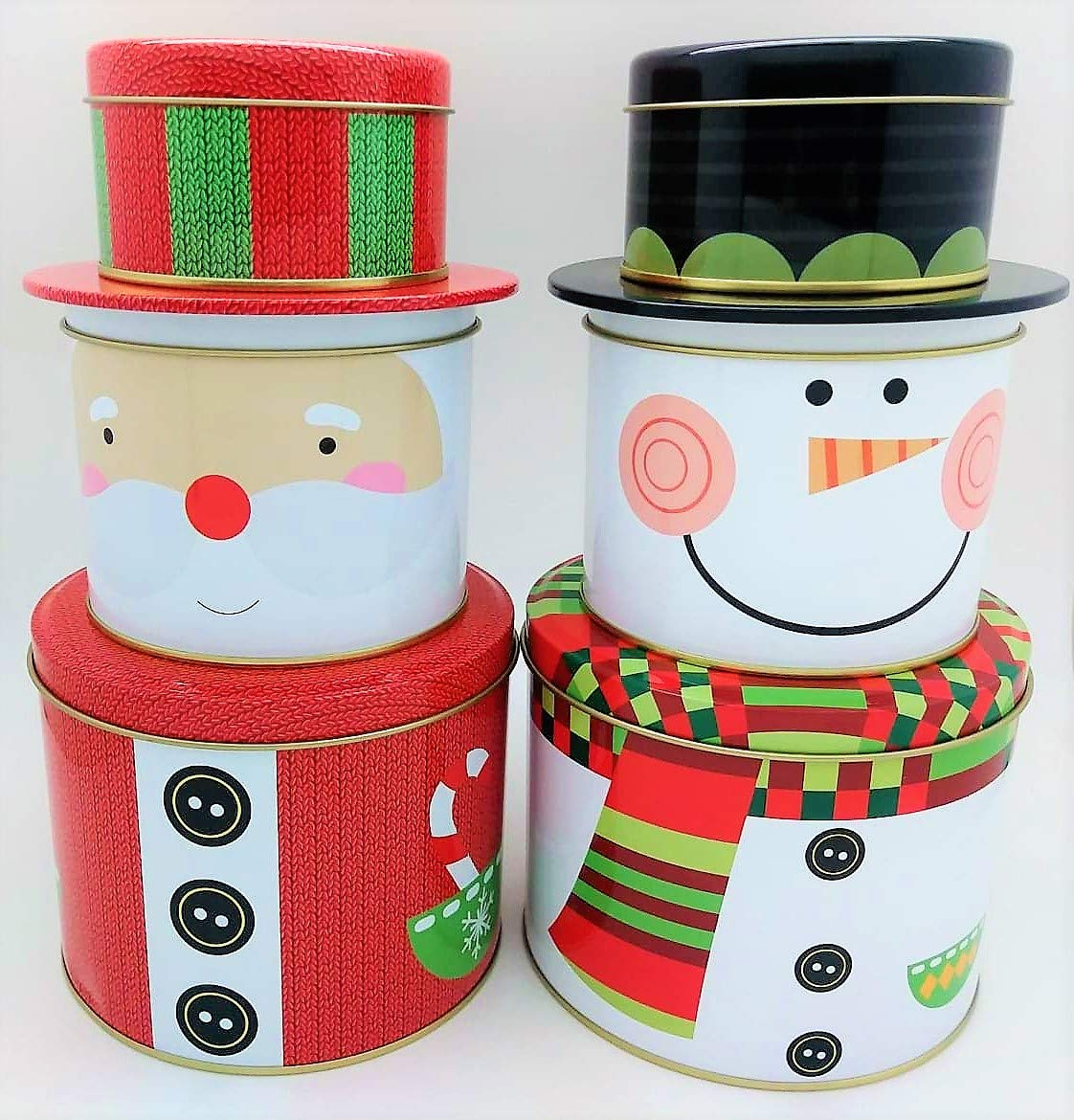 ALEF Christmas/Holiday Decorative Stacking Tins (2 Pack)