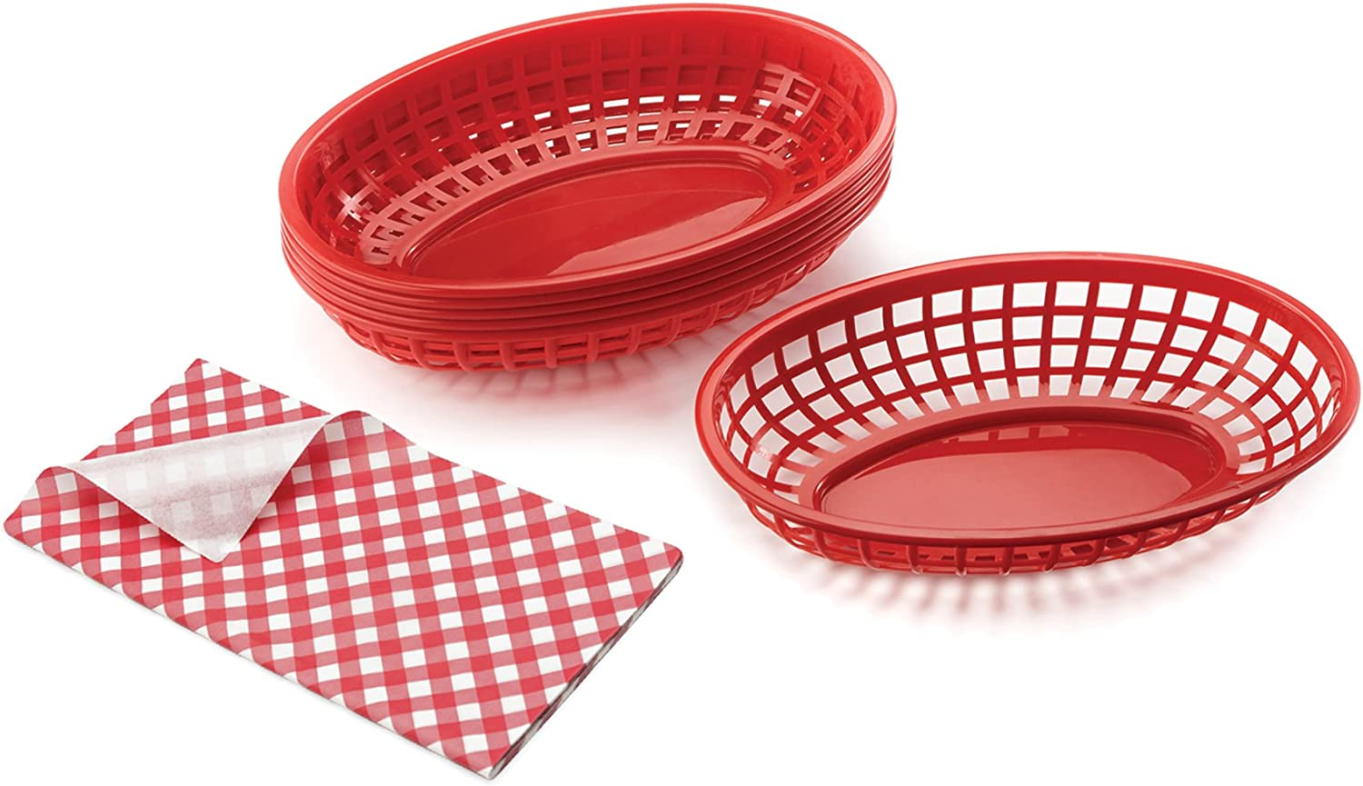 B2Q 76971 Pub Baskets with Red Liners, Set of 4 Baskets and 4 Liners