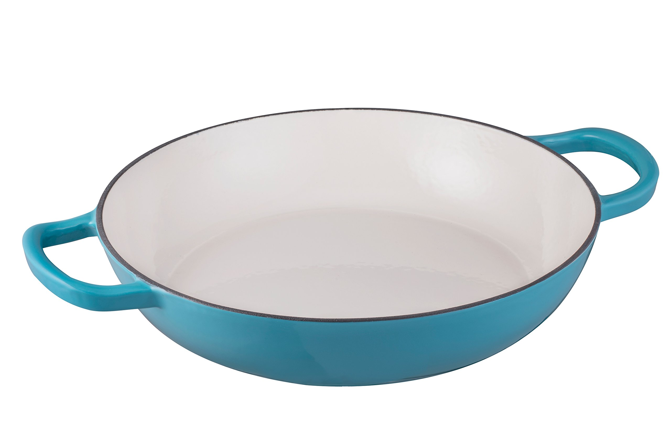 Enameled Cast Iron Shallow Casserole Braiser Pan with Cover, 3.8-Quart, Marine Blue by Bruntmor (Image #4)