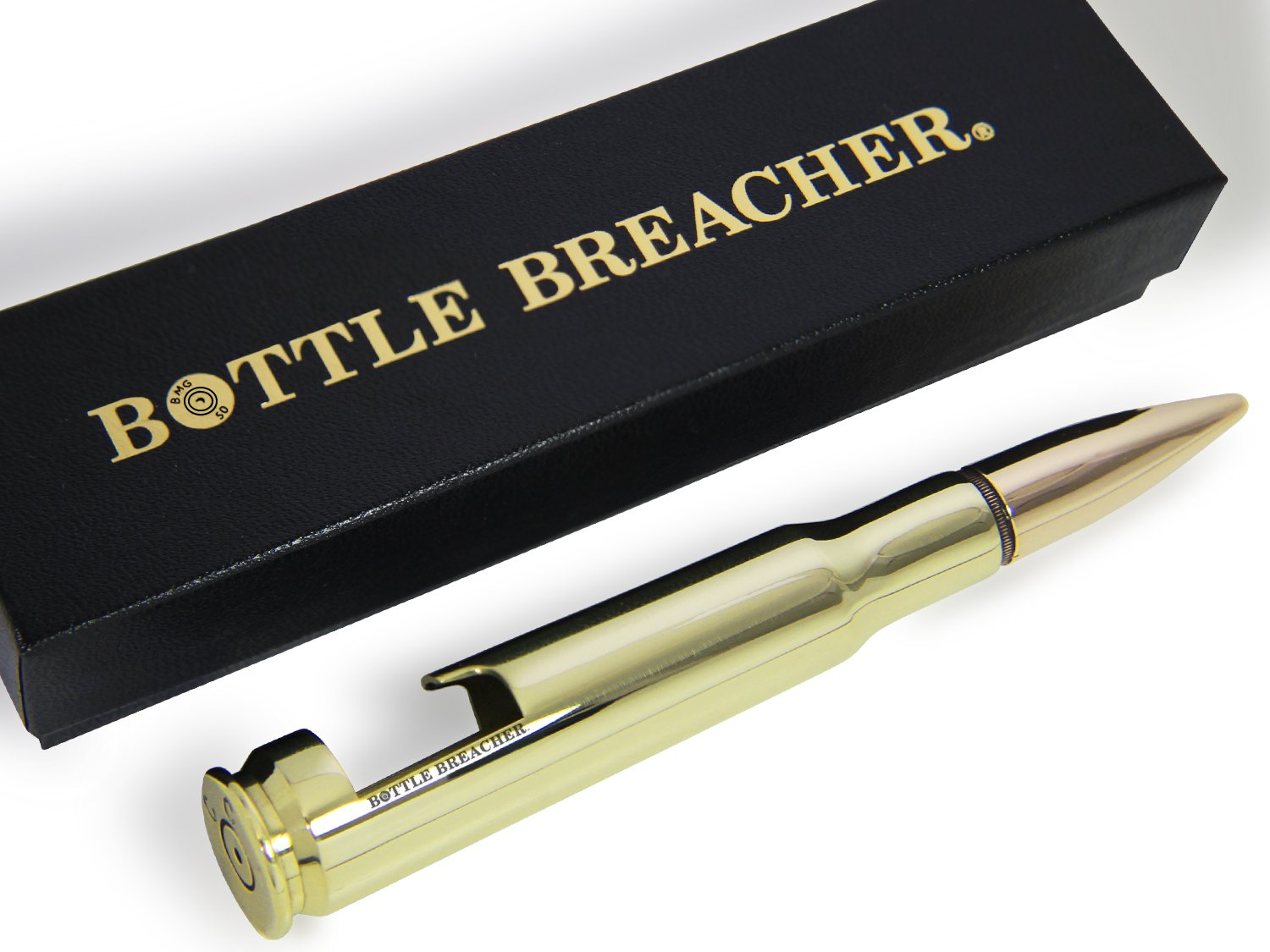 50 Caliber BMG Polished Brass Bottle Breacher Bottle Opener with Gift Box Made in the USA