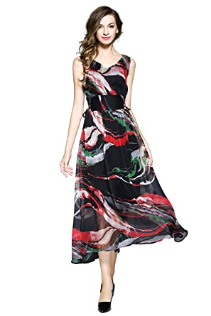 joy envyland womens floral chiffon maxi summer beach evening garden party dress - Garden Party Dress