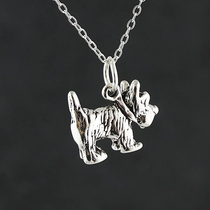 FashionJunkie4Life Sterling Silver Scottish Terrier Dog Charm Necklace 18 Chain