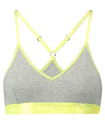 0b15f63a55 Puma Womens High-Shine Band Sports Bralette Light Grey Melange Yellow -  X-Small