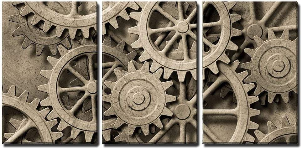 "wall26 - 3 Piece Canvas Wall Art - a Mechanical Background with Gears and Cogs - Modern Home Art Stretched and Framed Ready to Hang - 16""x24""x3 Panels"