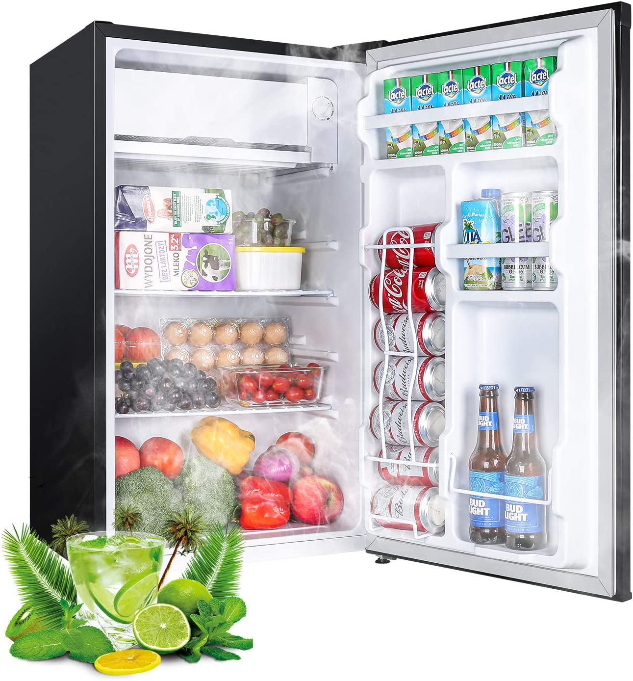 Compact Refrigerator, TECCPO 3.2 Cu.Ft, Energy Star Reversible Door Mini Fridge with Freezer, 35 dB, Adjustable Thermostat, Slide Out Shelves, Suitable for Office, Dorm Room, Kitchen or Playroom, Classic Black - TAMF06