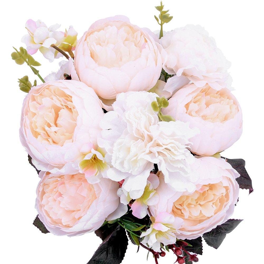 StarLifey Bouquet de Fleurs Artificielles de Pivoine Fleurs en soie Décoration de maison (Violet)