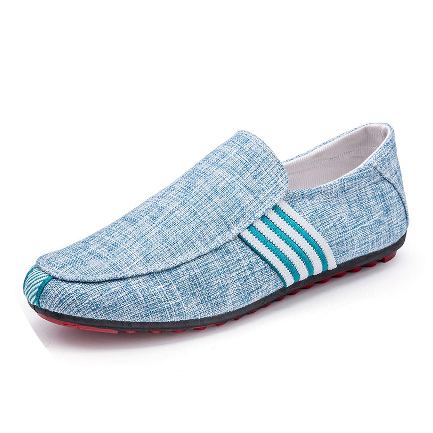 Li-Never 2019 New Spring Men Suede Leather Loafers Driving Shoes Moccasins Summer Fashion Mens Casual Shoes Flat Breathable Lazy Flats,Fabric Blue,8.5,Italy
