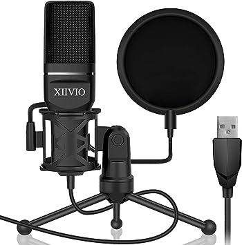 Amazon.com: XIIVIO Micrófono de condensador USB para juegos ...