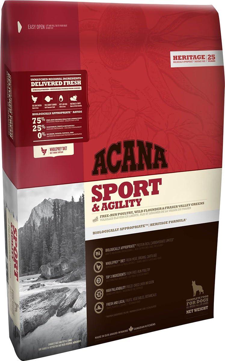 Acana Sport & Agility, Comida para Perros, Ingredientes Frescos, un saco, 11400 gr