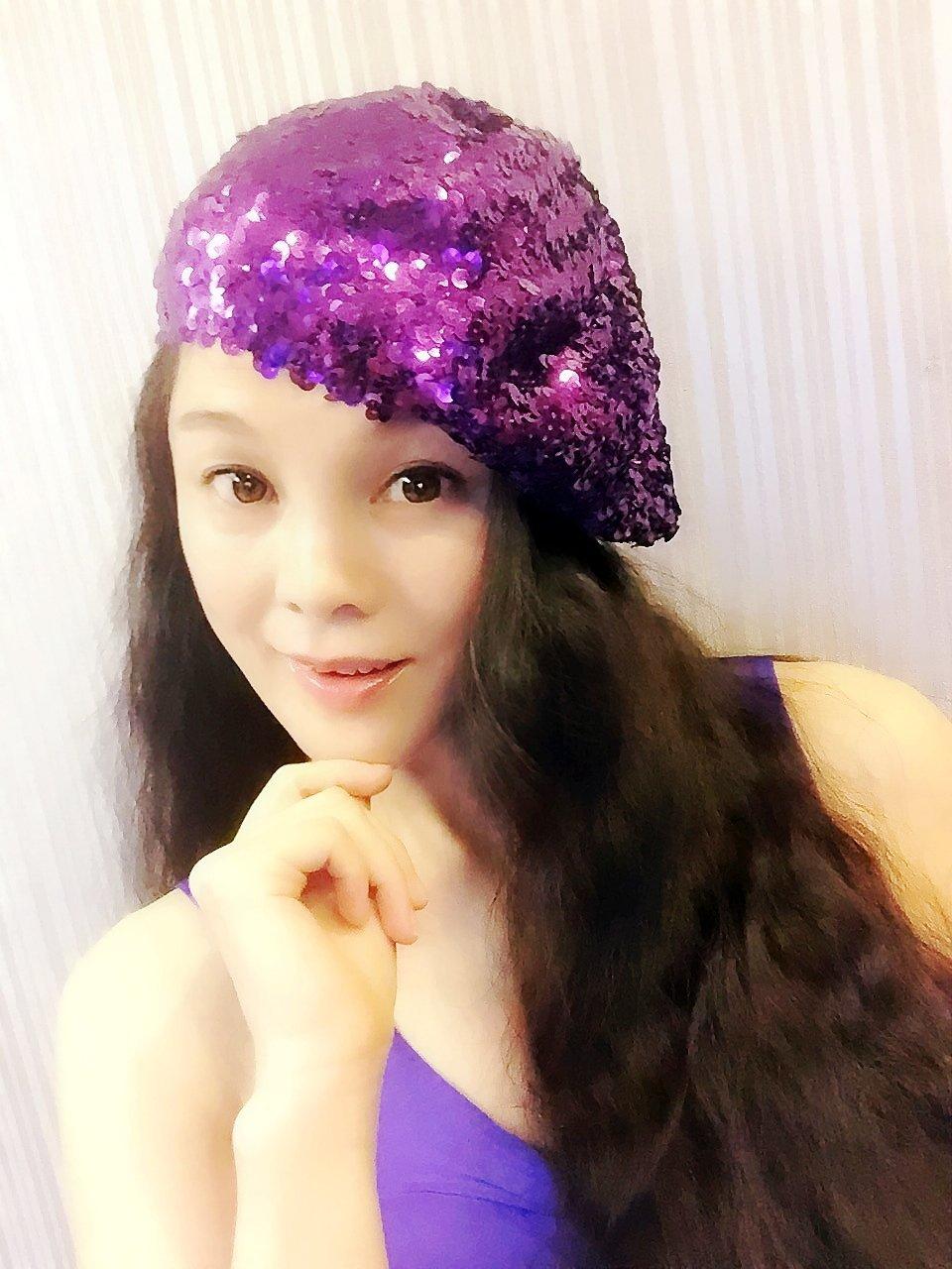 Purple Sequin Beret,Womens Turban,Full Turban,Turban Headband,Turban Hat,Stretch Turban, Caps, Hats, Women Hats,Fashion Turban,Head Wrap,Head Scarf,Headband,Hipster,Fashion,Gift ,Show, Party ,Holiday