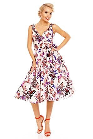 3081f1206123 Looking Glam Retro Vintage 1950 s Pin Up Butterfly Dress  Amazon.com ...