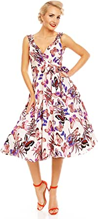 Looking Glam Retro Vintage 1950's Pin Up Butterfly Dress